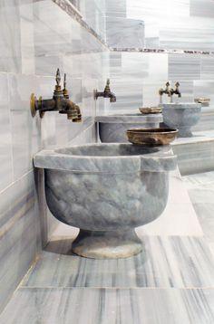 bathroom old. marble basin, pertek, turkish,bath