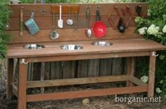 (link) Kid's Mud Bar ~ Using Recycled Salvaged Materials In Your Garden ~ This outdoor garden mud bar doubles as a kid's potting bench and outdoor play set - perfect for all those summertime experiments! Here's the DIY to build your own! Outdoor Play Kitchen, Diy Play Kitchen, Kids Outdoor Play, Outdoor Play Spaces, Mud Kitchen, Backyard Play, Outdoor Learning, Outdoor Fun, Backyard Kitchen
