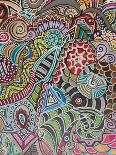 Original Abstract illustration Handdrawn Design Whimsical Flowers Multicolored on Bristol Paper Ink Marker. $45.00, via Etsy.