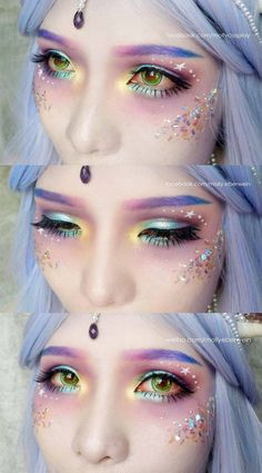 Mermaid Makeup Tutorial by mollyeberwein on DeviantArt Unicorn costume 1920 Makeup, Makeup Art, Lip Makeup, Maquillaje Halloween, Halloween Makeup, Kawaii Halloween, Unicorn Halloween, Make Up Looks, Mermaid Makeup Tutorial