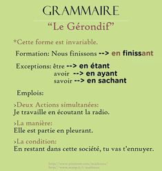 grammaire : gérondif