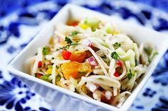 Jicama Salad ~ Crunchy, refreshing jicama salad with julienned jicama, bell peppers, red onion, cucumber, orange, and lime juice.  Perfect accompaniment to Mexican food dishes. ~ SimplyRecipes.com