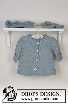 DROPS Baby - DROPS jacket in round yoke and cables, hat with pompons, mittens, socks and blanket in Alpaca and rattle in Muskat or Safran. - Free pattern by DROPS Design Baby Knitting Patterns, Free Baby Patterns, Knitting For Kids, Free Pattern, Free Knitting, Crochet Patterns, Drops Design, Drops Baby, Knit Baby Sweaters