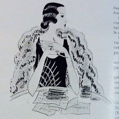 Thelma, Viscountess Furness.  Illustration by Cecil Beaton.  Vogue Paris, April 1928.