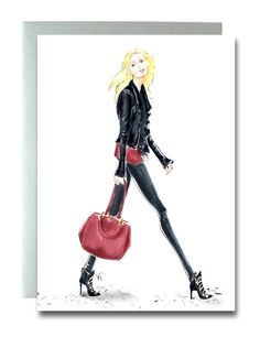 Fashion Illustration Card, Greeting Card, Blonde Girl Walking, Marker and Ink Art, Stylish Card, Gifts for Women, Fashionista Card, Blank