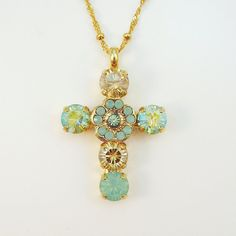 Mint Green Brown Champagne Seafoam Green Cross by TIMATIBO on Etsy