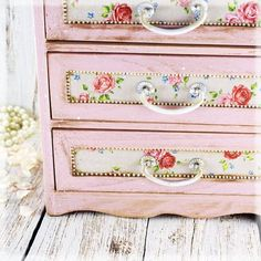 Shabby Chic Decoupage Furniture   French Country Pink shabby chic vintage look by Alenahandmade, $65.00