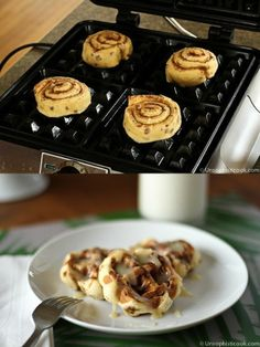 "Cinnamon Roll Waffles with Cream Cheese ""Syrup"" 