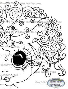 INSTANT DOWNLOAD Digital Digi Stamps Big Eye Big Head Dolls Making Faces Lula Bell My Besties By Sherri Baldy