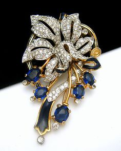 Vintage Crown Trifari Fur Clip Pave Rhinestones Flower Blue Glass Enamel