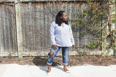 The Blue Stripped Shirt — Beverly Kesse Stripped Shirt, Ripped Jeans, Coat, Summer, Jackets, Blue, Shirts, Style, Fashion