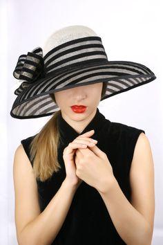 Ivory with black hat wide brim hat Summer sun hat Kentucky Women's Dresses, Black Wide Brim Hat, Black Hats, Royal Ascot Hats, Kentucky Derby Hats, Romantic Outfit, Summer Hats, Summer Sun, Fancy Hats