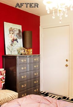 Red accent wall, mixed prints and patters, DIY dresser