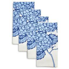 Light Blue Hydrangea Napkins, Set of 4