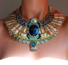 Aether - Egyptian Scarab Necklace, Bead Embroidered Statement Necklace, Egyptian Collar Necklace: