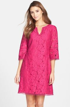 Free shipping and returns on Adrianna Papell Floral Lace Bell Sleeve Shift Dress (Regular & Petite) at Nordstrom.com. Fringed floral lace is shaped into a loose shift dress styled with a sweet notched neckline and bell-shaped sleeves. Perfect for your next beachy getaway.