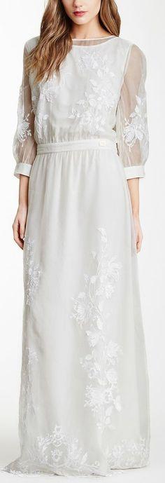 CLASS by Roberto Cavalli Embroidered Silk Overlay Maxi Dress on HauteLook Lace Top Dress, Dress Skirt, White Dress, Modern Fashion, Boho Fashion, Fashion Outfits, Hijab Fashion, Fashion Ideas, Fashion Trends