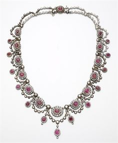 AN ANTIQUE RUBY AND DIAMOND NECKLACE