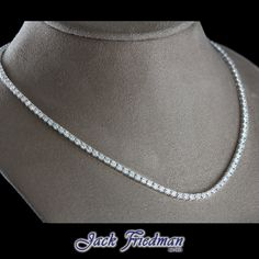 Classic Tennis Necklace from Jack Friedman with round brilliants Tennis Necklace, Jewelry Collection, Fine Jewelry, Diamonds, Jewelry Design, White Gold, Necklaces, Jewels, Classic
