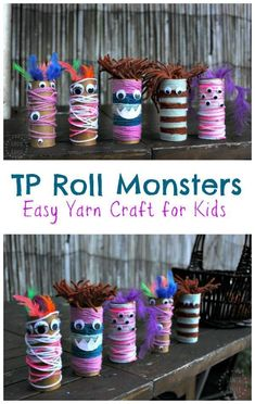 Easy, fun open-ended yarn and googly eye craft for p… Toilet Paper Roll Monsters! Easy, fun open-ended yarn and googly eye craft for preschool aged kids and up. Perfect for a monster theme (or Halloween). Easy Yarn Crafts, Yarn Crafts For Kids, Halloween Crafts For Kids, Halloween Activities, Toddler Crafts, Preschool Crafts, Fall Crafts, Diy For Kids, Activities For Kids