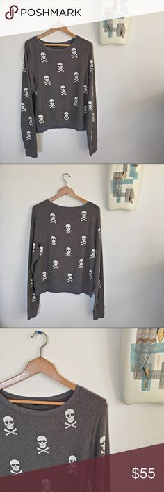 Wildfox Skulls Sweater Incredibly soft and comfortable Wildfox Skulls sweater. Skulls have heart eyes. 😍 Excellent used condition. Material is naturally pilly. Made in the USA. Size large. Wildfox Sweaters