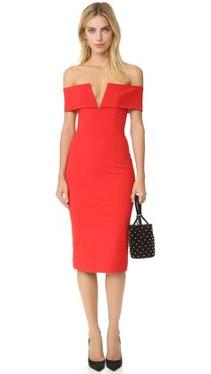 Red Ponte Off Shoulder Band V Dress by NICHOLAS. Rent $60 <3  Have you decided what to wear at the next event?