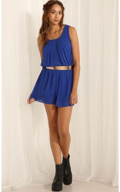 Playsuits/Jumpsuits > Primary Blue Playsuit With Geometric Backing