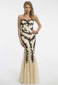 Strapless Two Tone Lace Dress with Applique