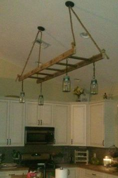 Hanging Ladders Above Kitchen Island