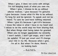 When i give...