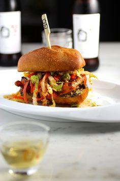 "Griddled Gochujang Chicken Sandwich, ""Kimchi"" Slaw, Seaweed Mayo with Bekseju"