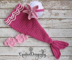 On Sale, Pink Mermaid Tail Costume, Baby Mermaid Photo Prop, 3-6 Month Baby Girl Cocoon
