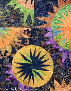Total Eclipse by Hope Adams, quilted by Diane Tricka (2015 Arizona Quilters Guild show).  Pattern by Judy Niemeyer. Closeup photo by Quilt Inspiration.