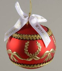 Waterford Holiday Heirloom Ornaments Golden Ribbon Ball Boxed