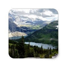Hidden Lake Overlook Glacier National Park Montana Square Sticker