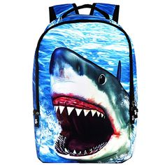 2017 New 18 Inches Fashion Shark Printing Backpacks For Teenage Boys Cool School Bags Preppy Style Laptop Bag Mochila Escolar Animal Backpacks, Boys Backpacks, School Backpacks, Cool School Bags, School Bags For Boys, School Pack, Backpack For Teens, Backpack Bags, Discount School