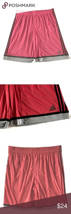 "NEW Men's Adidas Basketball Shorts 3XL NEW Men's Adidas Basketball Shorts SIZE 3XL  I do try my best to capture the correct shade but the actual shade may very in person.  Thank you!  Stretch waist, with inner drawstring Red, Black Stripes, Gray Trim at Leg Openings Size: 3XL 100% Polyester Recycled 11"" Inseam  Thank you so much! adidas Shorts Athletic"