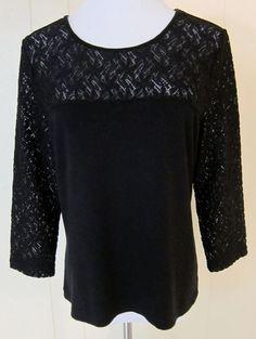 G Essentials Women Size L Black Stretch Lacy 3/4 Sleeve Top #gEssentials #KnitTop
