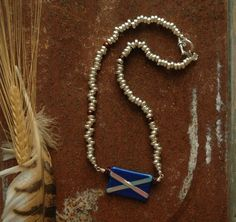 Scotland Flag Necklace Scottish Celtic St. Andrews Cross Scotland Jewelry Blue White Fused Glass Tribal Ambient Atelier Art Jewelry Design by AmbientAtelier on Etsy. I offer 10% off orders from Pinterest found items!