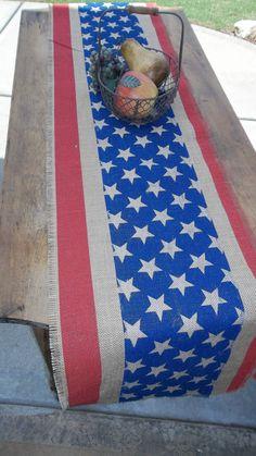 Patriotic Burlap Americana4th of July Table runner by cindidavis1, $25.00