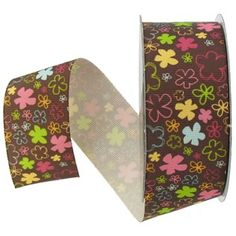 "the Ribbon Boutique 1 1/2"" Happy All Over Flowers Grosgrain Ribbon 
