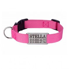 Personalized Dog Collar Nameplate Engraved S M L Pink