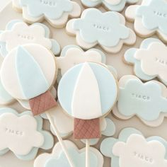 Up up and away hot baloon cloud cookies