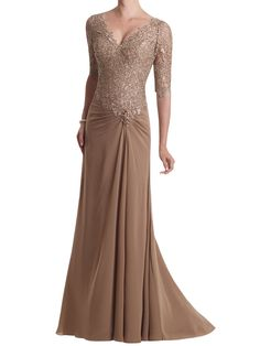 camel v-neck elbow sleeve lace bodice floor length a-line chiffon mother of the bride dress