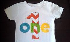 Chevron Birthday Shirt First Birthday Boys Shirt or Onesie gift photo prop zig zags modern. $17.95, via Etsy.