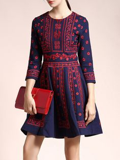 #AdoreWe #StyleWe CHARSU Casual 3/4 Sleeve A-line Embroidered Cotton-blend Mini Dress - AdoreWe.com