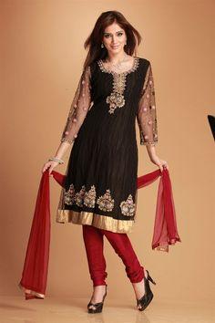 Urmila- Party wear kalidar kurta lined with polycrepe. Designer hand work embroidery with zircons, crystals stones and zardozi on neck sleeves and daman. Contrast shantoon churidar and nett dupatta.