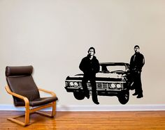 My fandom decal. Supernatural inspired Sam and Dean with Impala Wall Decal. $39.99, via Etsy.