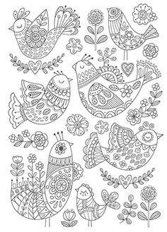 Birds by Felicity French Folk Embroidery, Embroidery Stitches, Embroidery Patterns, Colouring Pages, Adult Coloring Pages, Coloring Books, Madhubani Art, Madhubani Painting, Doodle Drawings