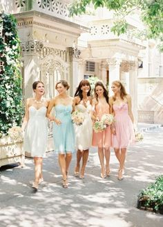 Pastel wedding - via Bridal Musings- Lover. Mix Match Bridesmaids, Chic Bridesmaid Dresses, Pastel Bridesmaid Dresses, Bridesmaids And Groomsmen, Wedding Bridesmaids, Bridal Dresses, Pastel Dresses, Rainbow Bridesmaids, Dresses Dresses